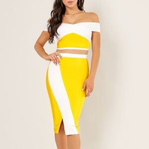 Wow Couture Off Shoulder Yellow 2 Piece Set